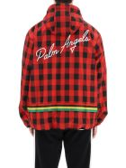 Palm Angels Nylon Windbreaker Jacket With Logo - Red