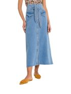 Nanushka Alma Belted Denim Midi Skirt - Blu