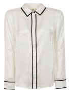 Equipment Contrast Piping Shirt - White/Black