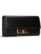 Alexander McQueen Leather Wallet On Chain - black