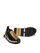 Dolce & Gabbana Striped Logo Slip-on Sneakers - Nero oro