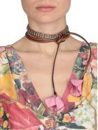 Marni Leather Necklace With Flowers - PINK