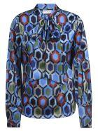 Eddy Monetti Printed Bow Silk Shirt - Fantasy