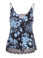 Gold Hawk Silk Tank Top - Sky Blue Shadow print/Black Lace