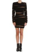 Balmain Open Knit Mini Dress - Black