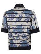 Antonio Marras Flower Print Stripe Cardigan - White/Blue