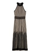 D.Exterior Lurex Knitted Long Dress - Beige