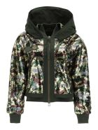 Mr & Mrs Italy Camouflage Sequined Bomber Jacket - CAMOU (Green)