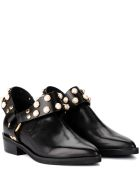 Coliac Griet Black Leather Ankle Boot With Pearls - Black
