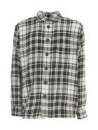 Destin Surl Worker Grant Fleecy Checked Shirt - Bianco Nero