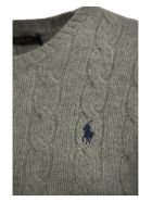 Ralph Lauren Cable Wool Crewneck Jumper - Grey Melange