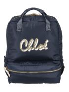 Chloé Two-way Zip Logo Backpack - Blue