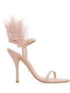 Stuart Weitzman Ricki Feathers Suede Sandals - Pink