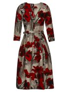 Samantha Sung Floral Belted Dress - Ivory/red