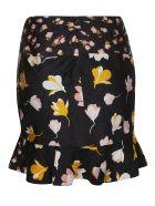 self-portrait Flared Floral Skirt - Black
