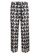 Max Mara The Cube Bow Tied Waist Printed Trousers - Beige/Teal
