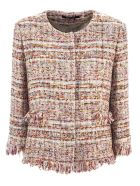 Tagliatore Pink Cotton Blend Milly Tweed Jacket - Fant Rosso