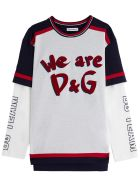 Dolce & Gabbana Cotton Sweater With Front Logo Print - White