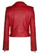 Manokhi Biker Leather Jacket - Red