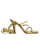 Paris Texas Snake Print Sandals - LEMON