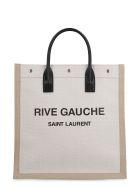 Saint Laurent Rive Gauche Canvas Tote Bag - Beige