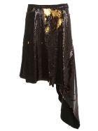 Marques'Almeida Skirt Sequin Tie Waist Asymmetric - Black Gold