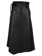 Prada Embeoidered Leather Skirt - BLACK