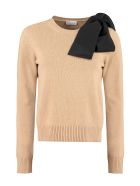 RED Valentino Bow Detail Crew-neck Sweater - Camel