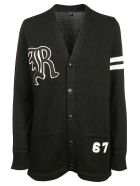 Ralph Lauren Varsity Oversized Cardigan - Black/cream
