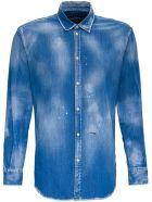 Dsquared2 Denim Shirt With Paint Splatters Detail - Blu