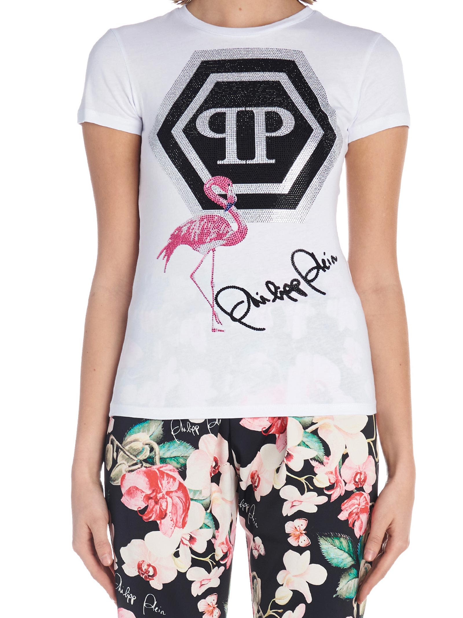 'Flamingo' T-Shirt in White
