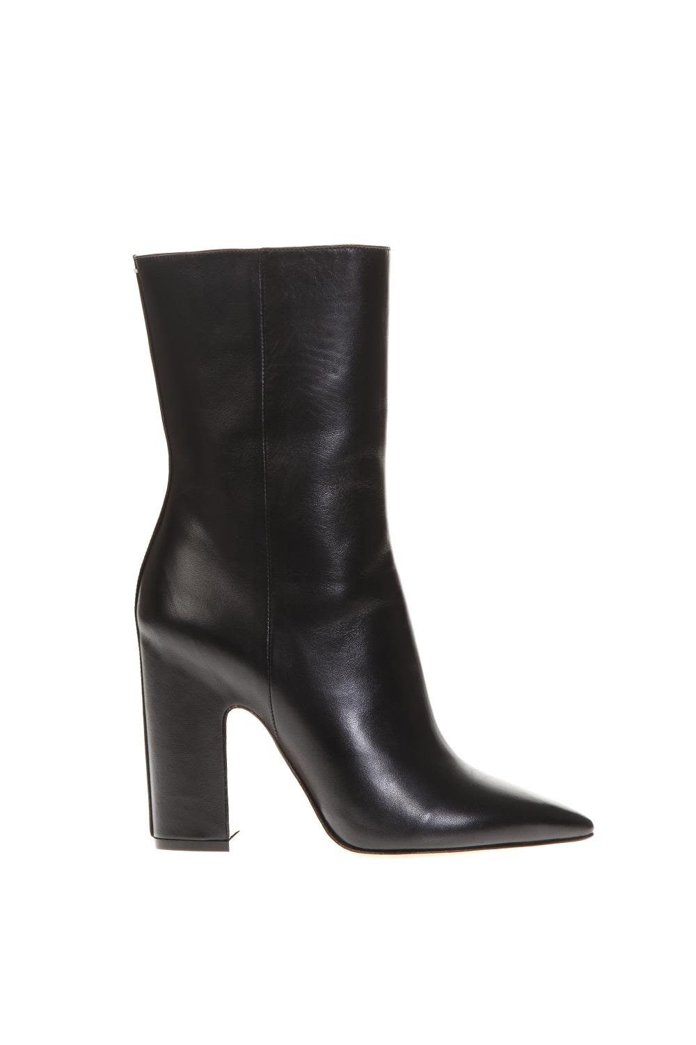 Maison Margiela Black Pointed Leather Ankle Boots