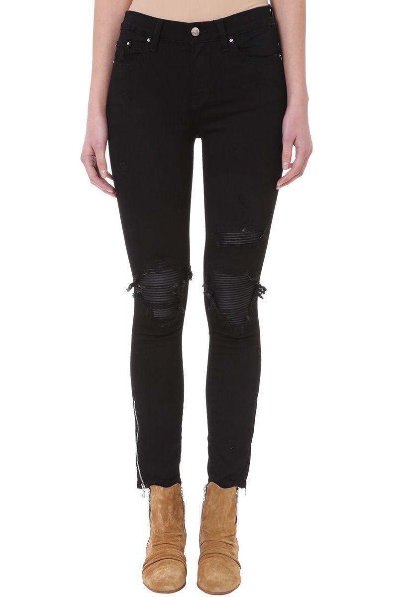 AMIRI Leather Patch Biker Black Denim Jeans