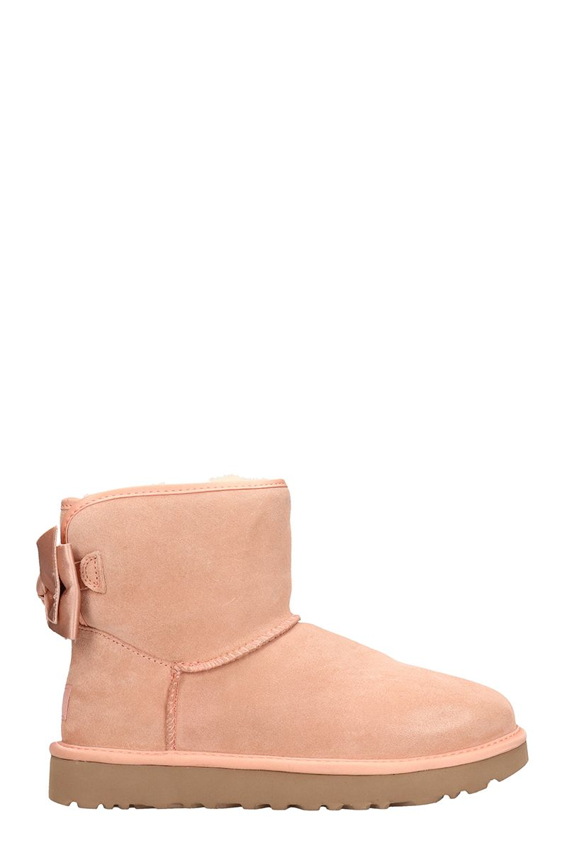 UGG Pink Mini Bow Satin Shearling Boots