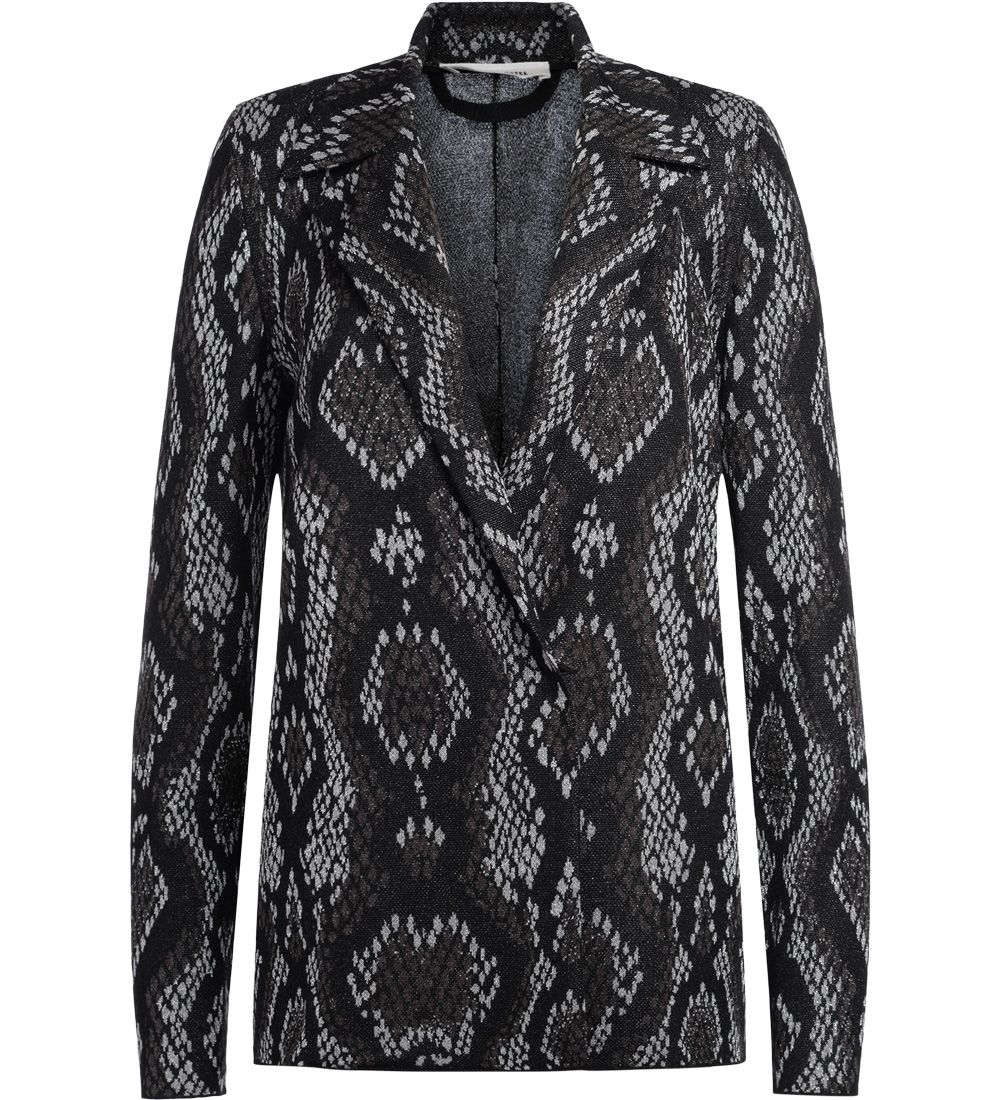circus hotel -  Black And Grey Fabric Blazer With Snake Skin Effect