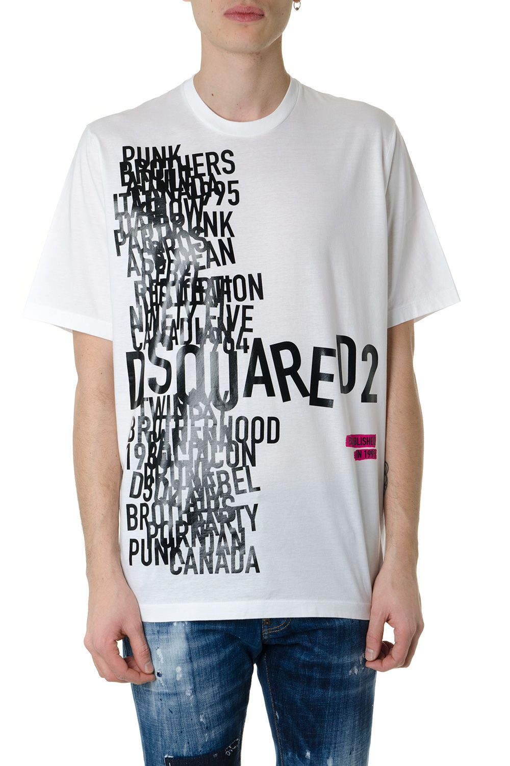 Dsquared2 White Cotton T-shirt With Graphic Print
