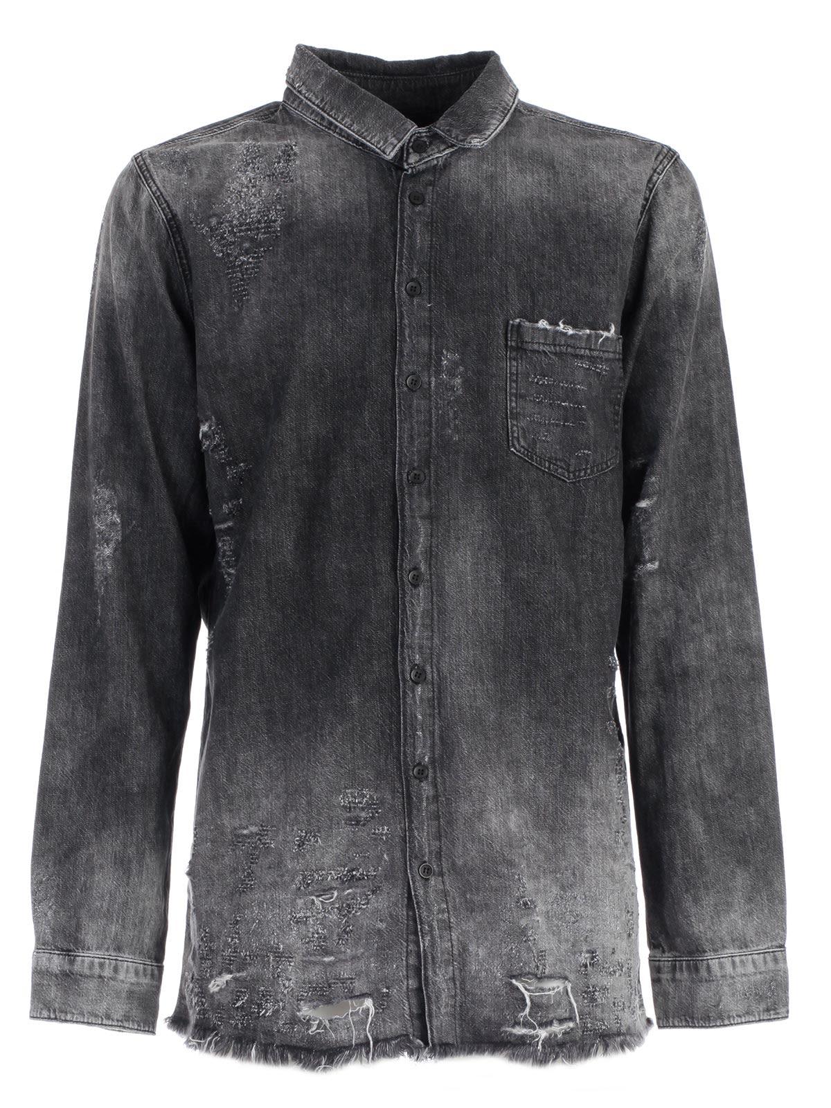 Thom Krom Distressed Denim Shirt