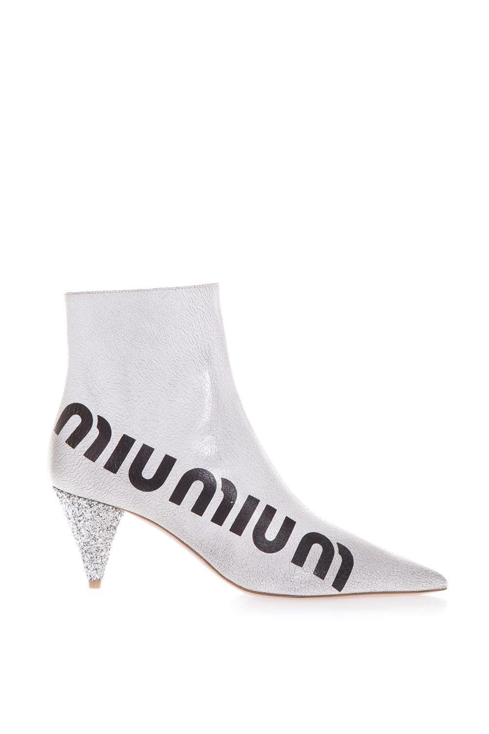 miu miu -  White  Cracked Boots In Leather