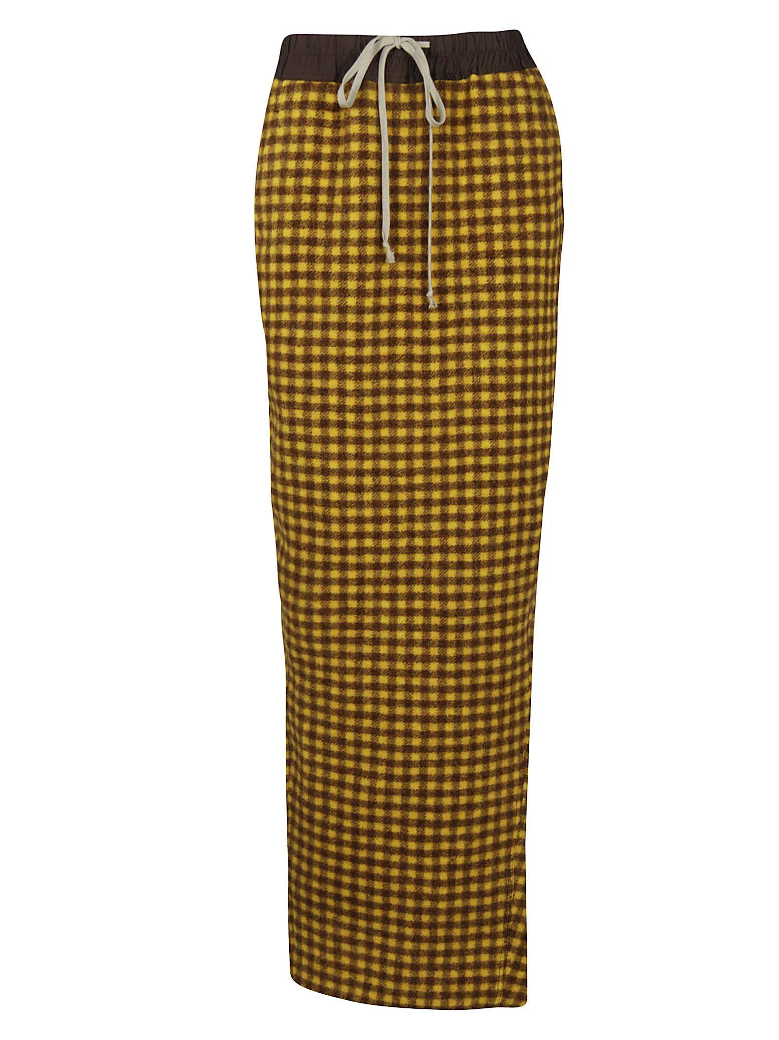 Rick Owens Checked Long Skirt