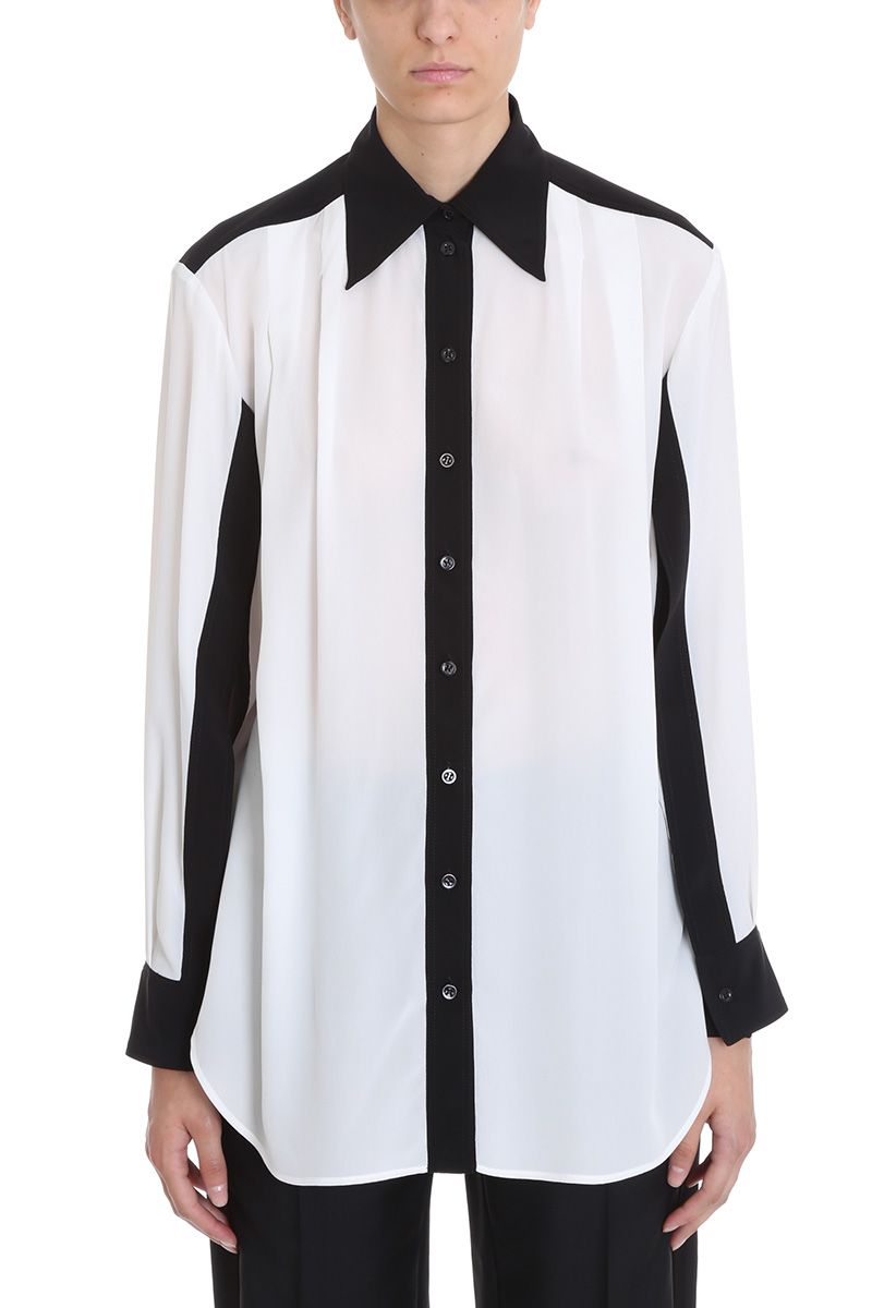 Givenchy Black And Off-white Crepe De Chine Shirt