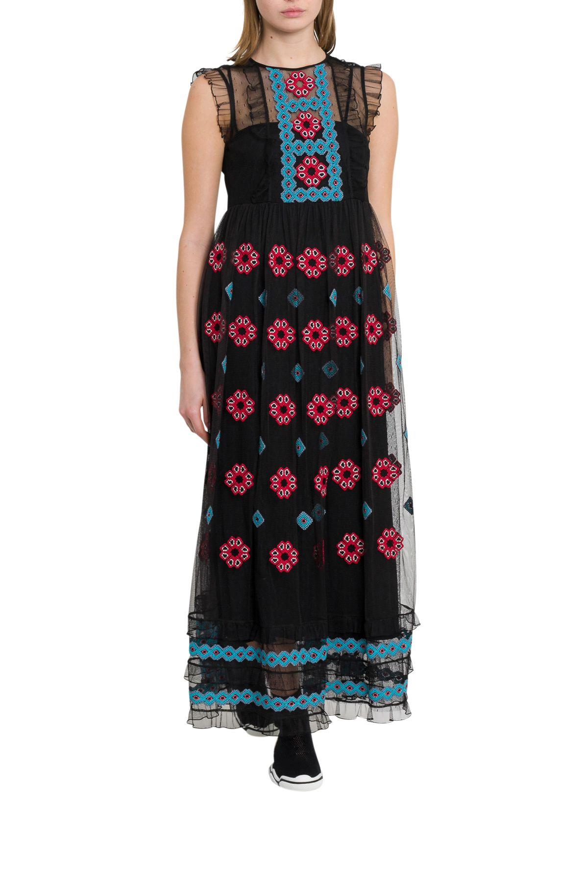 2ad539da608 Red Valentino Embroidered Maxi Dress With Ruffles In Black