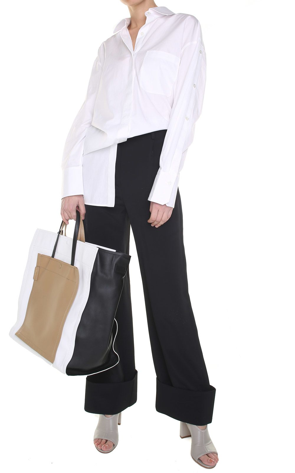 mm6 maison margiela -  Turned-up Cuff Wide-leg Crepe Trousers