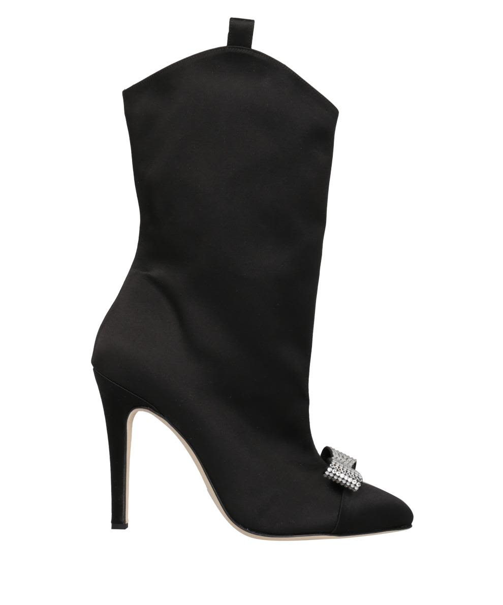 Alessandra Rich Swarovski Satin Boots