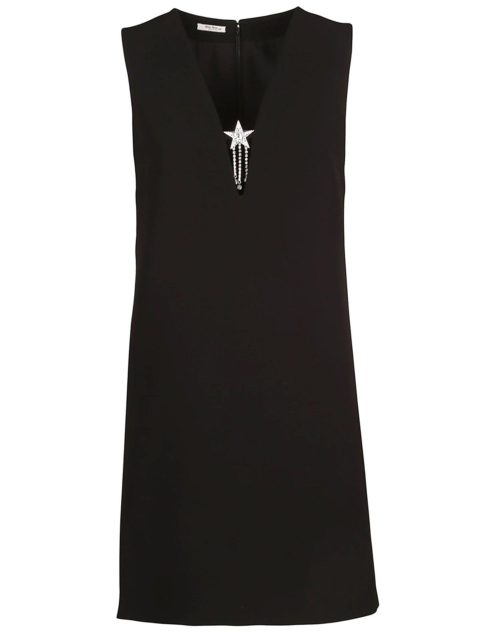 Miu Miu V-neck Star Applique Dress