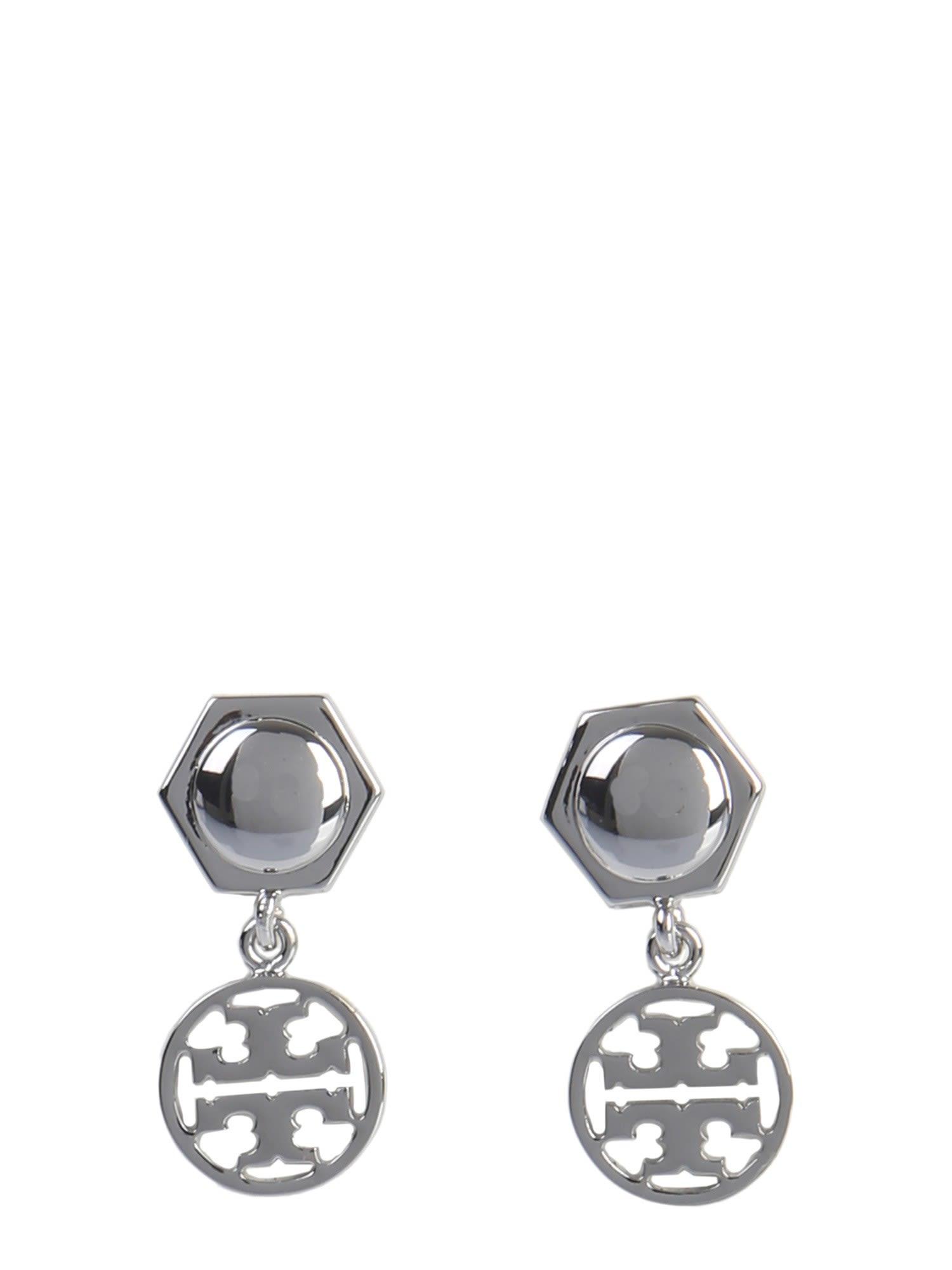 Tory Burch Logo Pendant Earrings