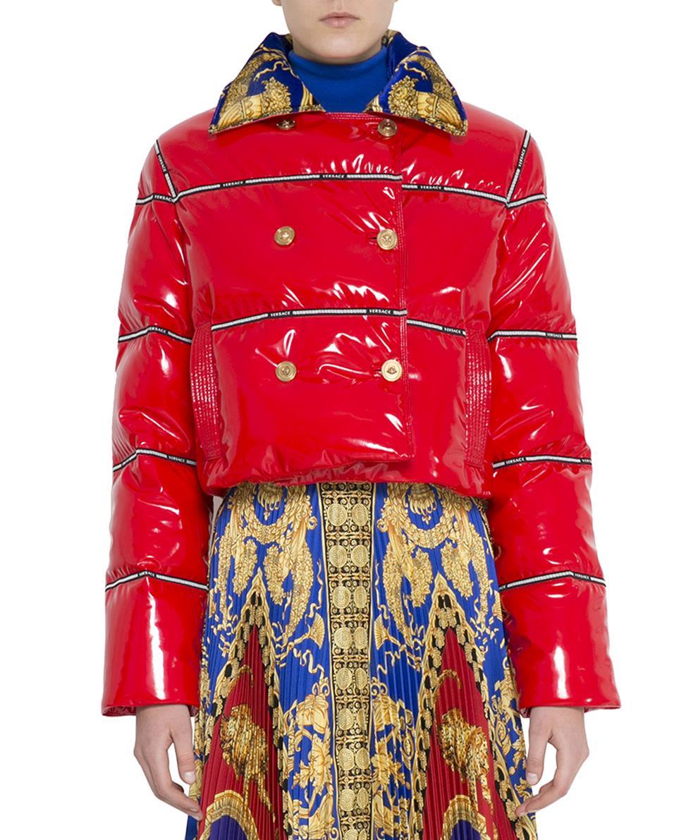 versace -  Red Vinyl Puffer Coat