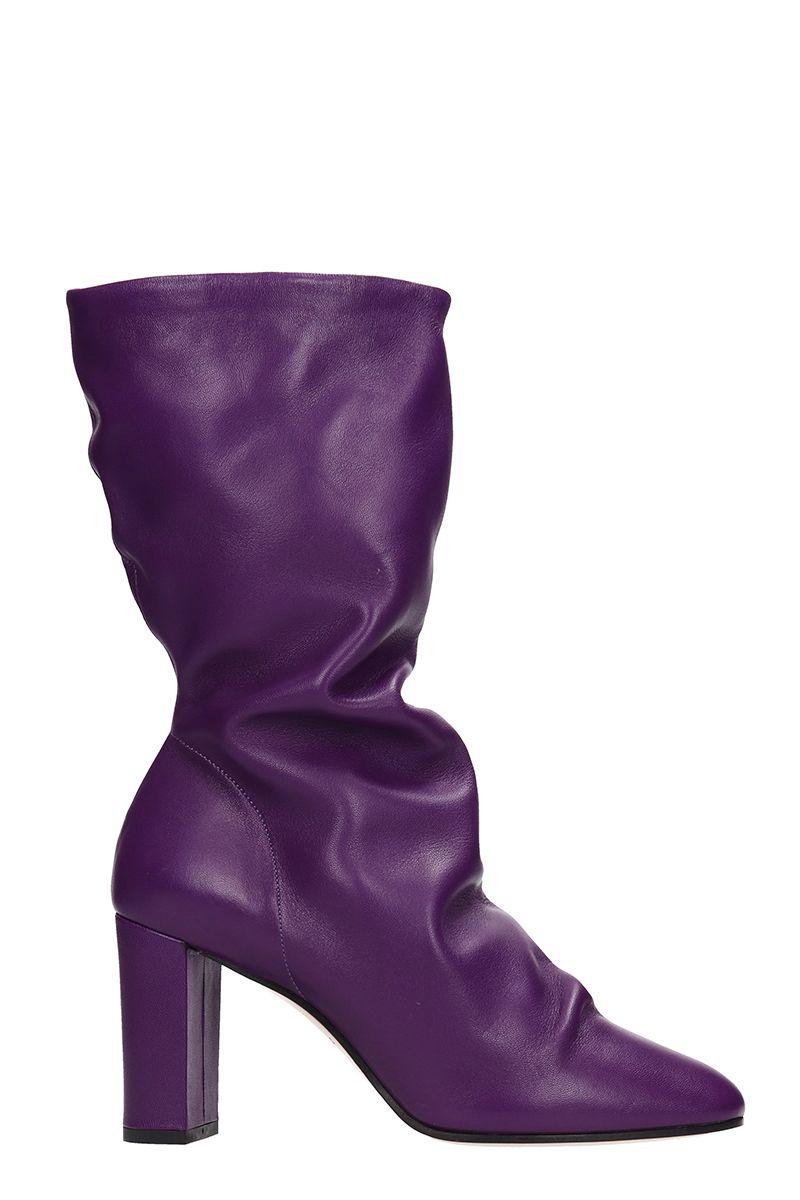 Marc Ellis Violet Calf Leather Ankle Boots