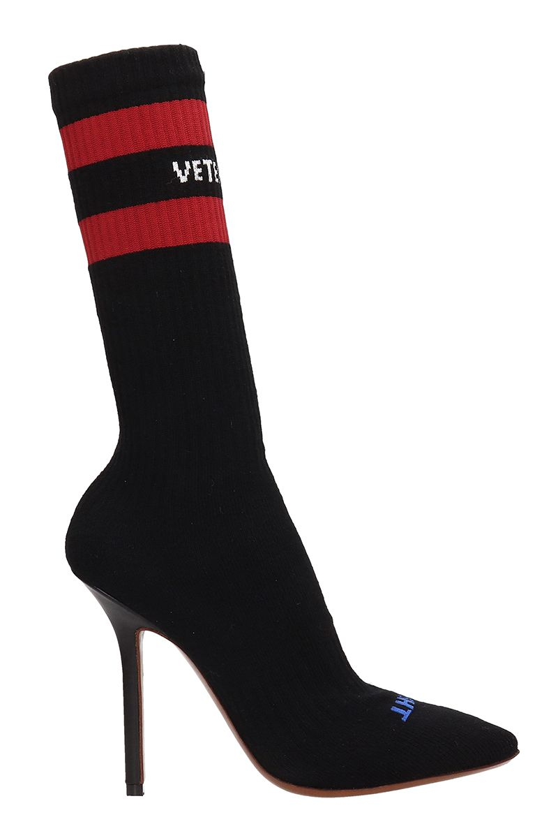 VETEMENTS Black Red Fabric Sock Pumps Boots