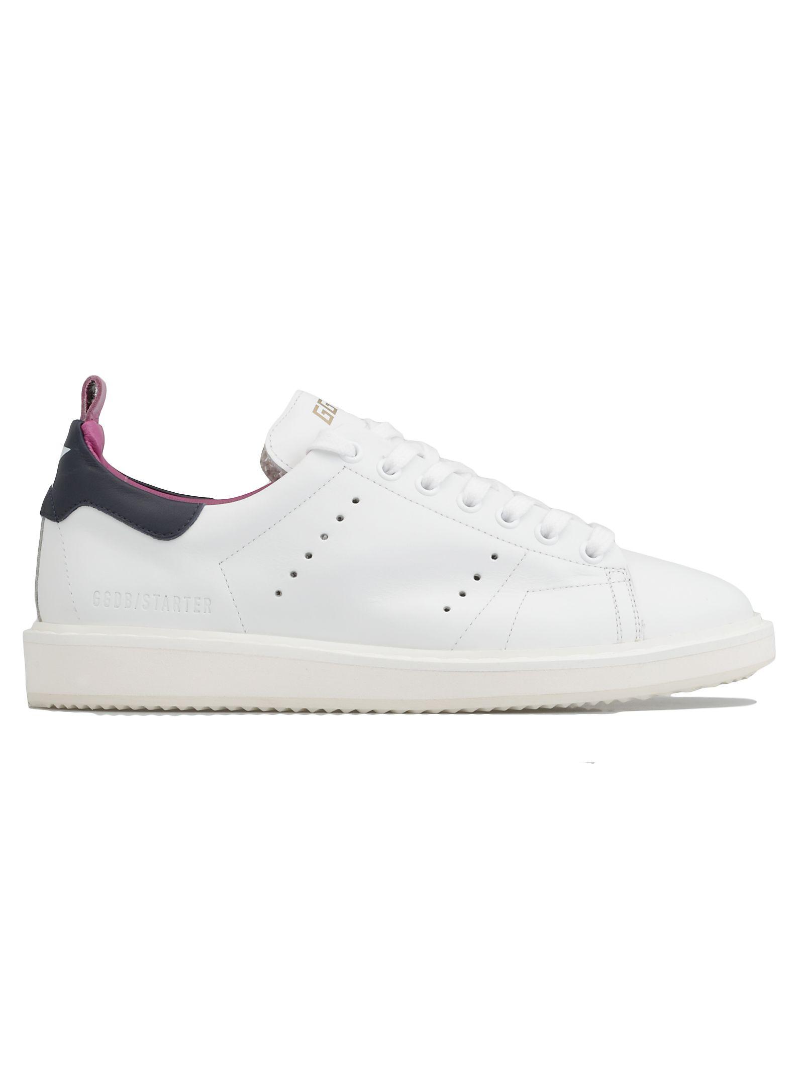 Starter Sneaker in White Leather-Purple Blue