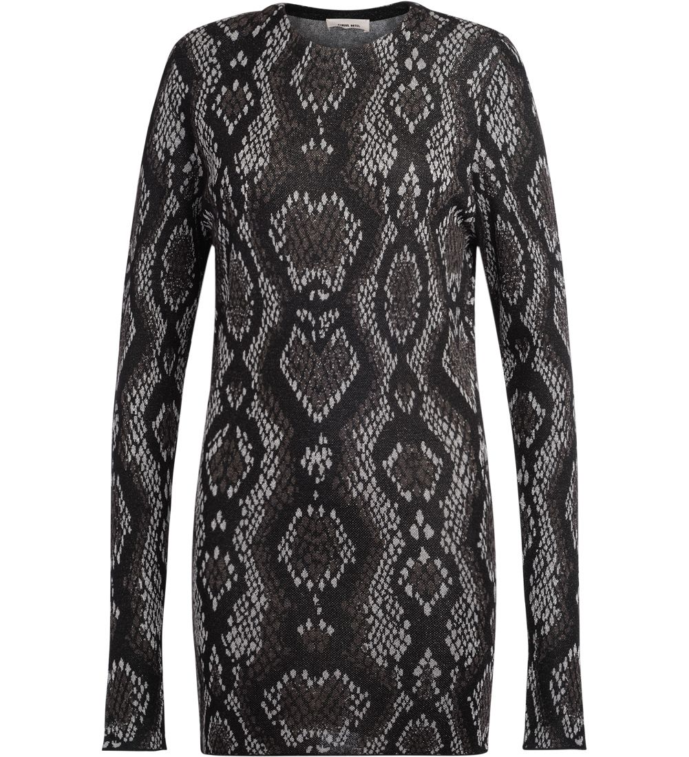 circus hotel -  Snake Skin Patter Black And Grey Fabric Dress.
